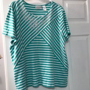 Mint Green & white top.